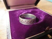 Toller 925 Silber Ring Sterling Designer Unisex Groß Dreieck Kreis Antik Finish