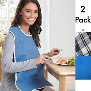 2 x Adult Bib Mealtime Neck Napkin Washable Wipe Clean PVC Full Size