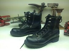 BLACK LEATHER MILWAUKEE ZIP UP LACE UP MOTORCYCLE ENGINEER BOSS BOOTS 11.5 M