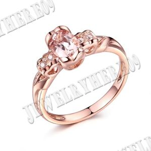 Present 10k Rose Gold Oval 7x5mm Morganite Diamond Fine Jewelry Ring Heart Shape
