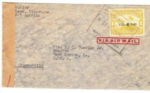 Nicaragua Sc#C108(single frank)-MANAGUA 18/AGO/1942-AIR MAIL to USA-WWII CENSOR