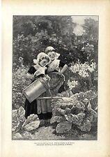 E. Luyot Die kleinen Gärtnerinnen Volkstracht Gießkanne Bauerngarten Druck 1905