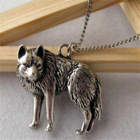 Fashion Occident Silver Wolf Charms Pendant Long Chain Necklace Vintage Jewelry