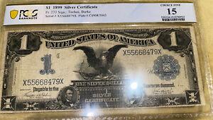 1899 BlackEagle Silver $1 Certificate PCGS CHOICE F15Teehee/Burke Signed Fr 233