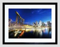 CITYSCAPE MARINA BAY SANDS SINGAPORE BLACK FRAMED ART PRINT PICTURE B12X9383