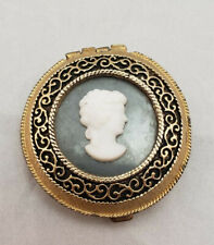 Elegant Woman Enameled Lucite Cameo Gold Tone Filigree Vintage Compact
