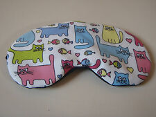 EYE SLEEP MASK Soft cotton Cats & Fish black backing :Blackout Blindfold Gift