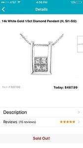 Overstock 14k White Gold 1/3ct Diamond Pendant (H, SI1-SI2) $487.99 Free ship
