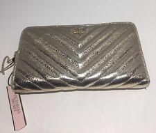 Victoria's Secret V-Quilt Metallic Crackle Everything Zip Wallet Gold $45.00 NWT