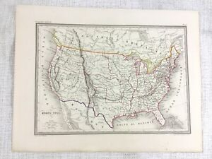 1846 Antique Map of The United States of America Rare Hand Coloured Engraving