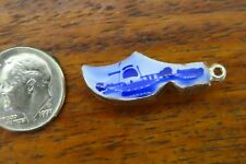 Vintage silver DELFT BLUE WOODEN SHOE CLOG DUTCH HOLLAND NETHERLANDS charm