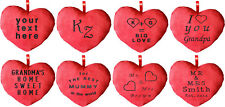 PERSONALISED EMBROIDERED HEART CUSHION 30CM GIFT YOUR TEXT 8 DESIGNS