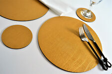 Set of 8 Artisan Gold Bonded Leather Round Coasters Drinks Cup Mug Glass Mats UK