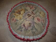 Blue round throw pillow, needlepoint floral top, pink pleated ruffle, down fill