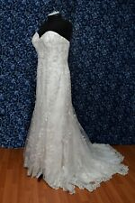 Allure Bridals 113019 Ivory w/ Silver Lace over Champagne Wedding Dress s 18 NWT