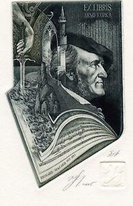 Richard Wagner, Germany, Music, Sword,  Ex libris Etching by Hristo Naidenov