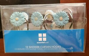 Blue Daisy Shower Curtain Hooks Set of 12 Essential Home Resin Silver-tone NEW