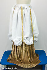 Renaissance Pirate Ladies Tan & White Velour & Cotton Costume Skirt Os