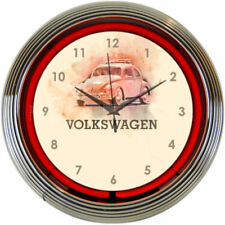"VOLKSWAGEN BUG VW Red 15"" Neon Wall Clock 8VWBUG New Neonetics NEW Man Cave LOOK"