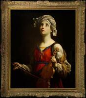 Hand painted Old Master-Art Antique Oil Painting Portrait girl violin on Canvas