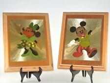 Disney Mickey Minnie Mouse Dufex Foil Litho Art Print Wood Plaque Lacquer 70/80s