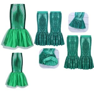 Kids Girls Fancy Dress Fish Tail Skirt Walkable Cosplay Halloween Party Costume