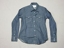 TRUE RELIGION MENS WESTERN STYLE BLUE DENIM L/S BUTTON UP SHIRT SIZE SMALL NEW