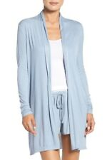 b52715e933 BAREFOOT DREAMS Cardigan Sweater XL Luxe Ribbed Jersey Blue Open Drape Long  Slvs