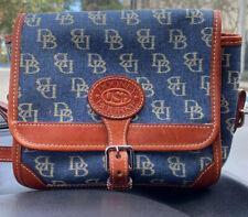 Vintage Dooney Bourke Purse Blue Jean Denim Brown Leather Crossbody Bag USA