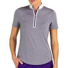 JoFit Women's Short Sleeve Melange Mock Polo Shirt - Fog Grey - Pick Size!