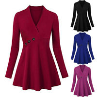 Plus Size Women Casual V-Neck Solid Top Button Long Sleeve Shirt Blouse Pullover