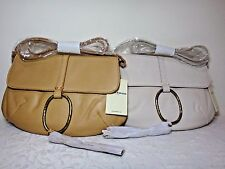 NWT Lucky Brand Ring Leather MD Clutch, White/Light Brown
