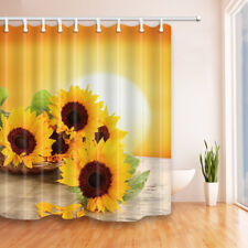 Sunflower On Wooden Board Bathroom Shower Curtain Fabric w/12 Hooks 71*71inch