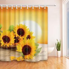 Bright yellow Sunflower On Wooden Board Shower Curtain Bathroom Fabric 12 Hooks