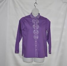 Bob Mackie Embroidered and Jeweled Shirt Size S Purple