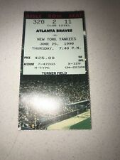 6/25/1998 NY Yankees @ Atlanta Braves Jones Jeter Hit Wells CG SO Ticket Stub