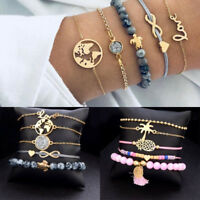 5pcs/set Women Love Heart Sea Turtle Weave Rope Bead Bracelet Chain Jewelry Gift