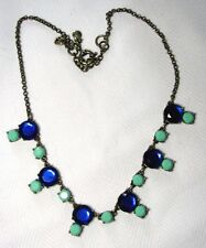 "J CREW Statement Necklace Blue & Turquoise Crystals Adjustable  18"" - 21"" X .87"""