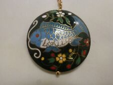 Cloisonne Pendant Necklace Enamel FISH  Round Double Sided  Hong Kong  12k