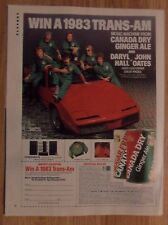 1984 Print Ad Canada Dry Ginger Ale ~ Daryl Hall & John Oates RED Trans Am Car
