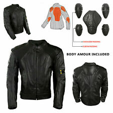 Mens Black Racing Protection Motorbike Leather Jacket Motorcycle CE Armour
