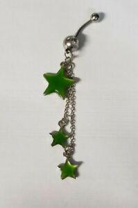 Green Enamel Rhinestone Silver Tone Chain Three Star Steel Belly Ring