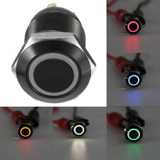 12mm 12V Latching Push Button Power Switch Black Metal LED Waterproof Ramdom 1PC