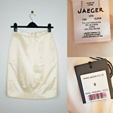 Jaeger Pencil Skirt Ivory Cream Wiggle Lined Cotton Silk Blend UK 8 RRP £150 NWT