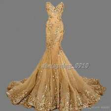 Lace Mermaid Gold Evening Dress Long Bead Party Prom Pageant Formal Gown