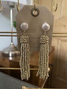 Anthropologie Freshwater Pearl & Seed Bead Gold Tassel Earrings - RRP £46.00