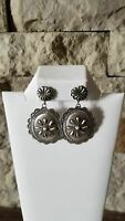Navajo Indian Hand Stamped Sterling Silver Post Earrings! by Eugene Charley
