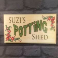 Large Personalised Potting Shed Plaque / Sign - Garden Workshop Nanny Flowers