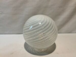 Opalescent swirl ball shade for electric gas hanging chandelier part restoration