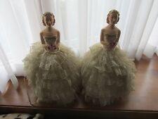 Vintage Chalkware Glamour Girl Princess Half Doll Boudoir Pair of Lamps.